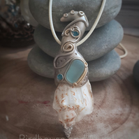 Shell Pendant with Sea Glass