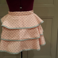 Pink & Grey polka dot layered apron