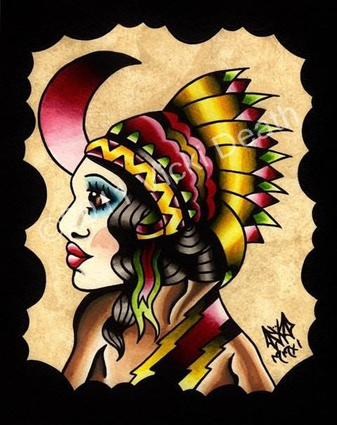 The Native Girl Original Tattoo Art