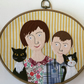 Custom Group Family Textile Portrait in Embroidery Hoop