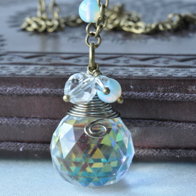 Twilight Dreams Crystal Ball Briolette Necklace