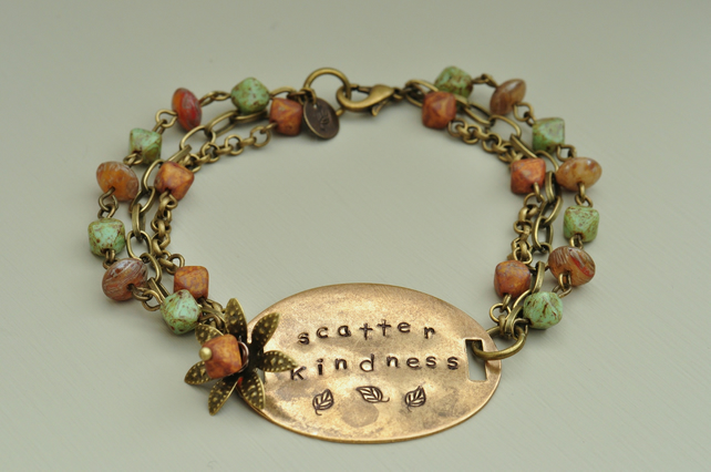 Scatter Kindness Metal Stamped & Czech Bead Bracelet
