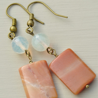 Handmade Orange Agate and Quartz Bead Earrings