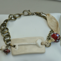 Handmade Cream Ceramic Key Bar with Lampwork Glass Ribbon & Chain Bracelet
