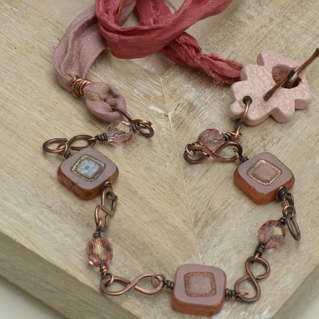 Handmade Pink Ceramic Leaf, Czech Bead & Pink Sari Silk Copper Necklace