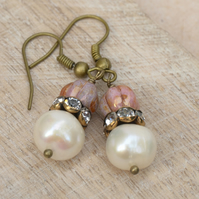 Freshwater Pearl, Czech Rose Glass Bead & Diamante Rondelle Earrings