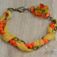 Orange Czech Bead Drops, Yellow Chiffon Ribbon & Antique Bronze Chain Bracelet