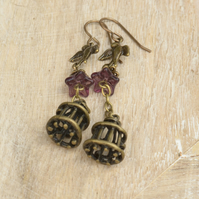 Birdcage Bird & Amethyst Czech Glass Flower Earrings
