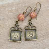 Hand Stamped Owl Earrings with Rose Czech Beads