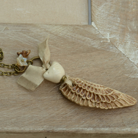 Beige Handmade Ceramic Wing Pendant and Bird, Sari Silk Ribbon & Czech Flowers