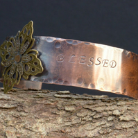 Blessed Handmade Hand Stamped Oxidised Hammered Copper Cuff with Flower Rivet