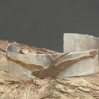 Believe Hand Stamped Aluminium Cuff with Bird Rivet