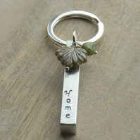 Home Aluminium Hand Stamped Bar Keyring with Czech Leaf and Bead