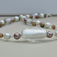 Crystal, Smokey, Cocoa Beige & White Glass Pearl Bead Necklace