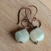 Handmade Copper Earrings with Amazonite Faceted Coin Beads