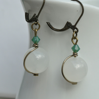 White Jade & Green Pacific Opal Swarovski Crystal and Bronze Earrings
