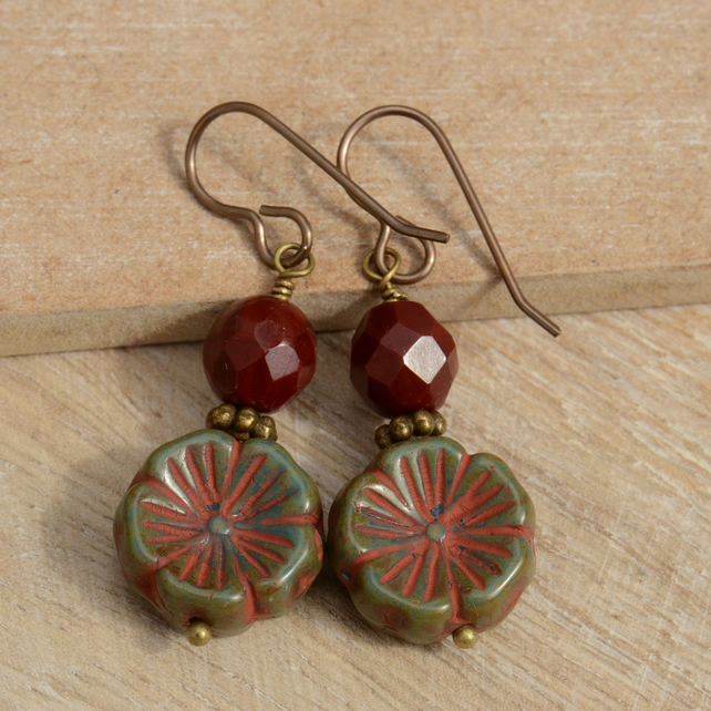 Green and Russet Czech Flower & Deep Red Bead Handmade Earrings