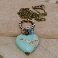 Aqua Blue Lampwork Heart Bead Necklace with Czech Flower & Pearl Beads