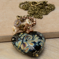 Black Lampwork Heart Necklace with Czech Flower Beads & Pearls