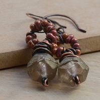 Smoky Czech Glass Bead Copper Earrings with Bronze Seed Beads