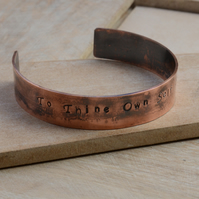 Hand Stamped Copper Cuff Bracelet with To Thine Own Self Be True