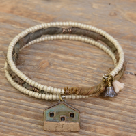 Memory Wire Seed Bead Bracelet with Sari Silk Ribbon and Raku House