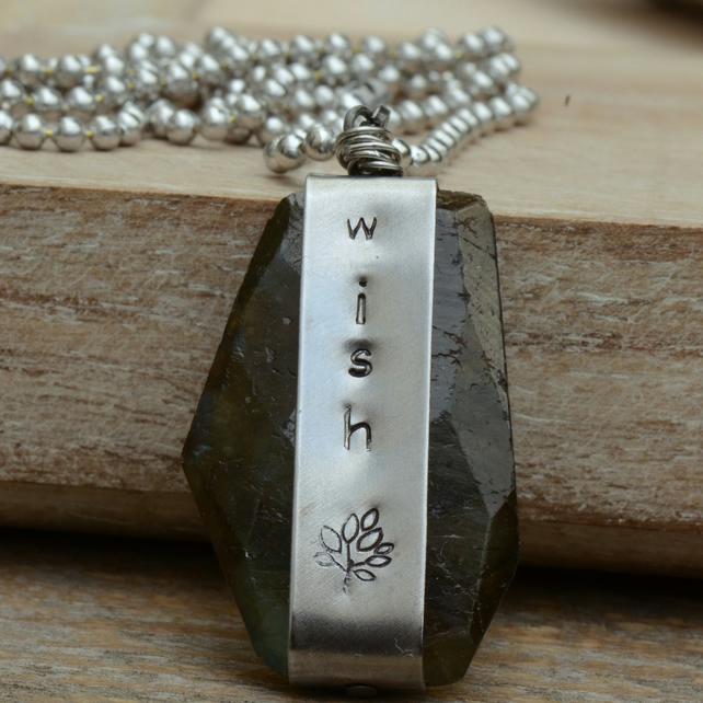 Wish Stamped Vintaj Labradorite Pendant Necklace with Aluminium Ball Chain