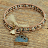 Memory Wire Seed Bead Bracelet with Raku House