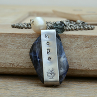 Sodalite Gemstone Necklace with Hand Stamped Hope Bar, Freshwater Pearl & Bead