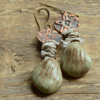 Beige Ceramic Shell Earrings with Sari Silk Ribbon & Embossed Copper discs