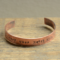I Carry Your Heart With Me Hand Stamped Copper Cuff Bracelet