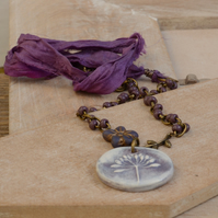 Ceramic Seed Pendant Necklace with Purple Czech Beads and Sari Silk Ribbon