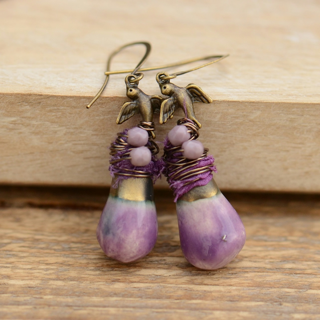 Purple Ceramic Drop Earrings with Wire Wrapped Birds, Sari Ribbon & Czech Beads