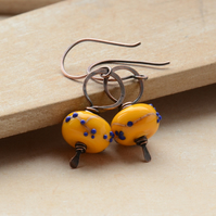 Yellow Blossom Lampwork Glass Bead and Copper Earrings