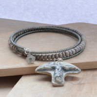 Grey Blue Memory Wire Seed Bead Bracelet with Ceramic Bird