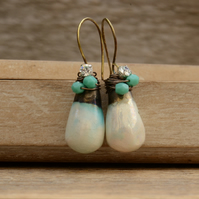 Mother of Pearl Mint Lustre Ceramic Drop Brass Earrings with Diamante & Beads