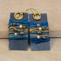 Vintaj Arte Metal & Brass Earrings with Sari Silk Ribbon, Pearl and Glass Beads