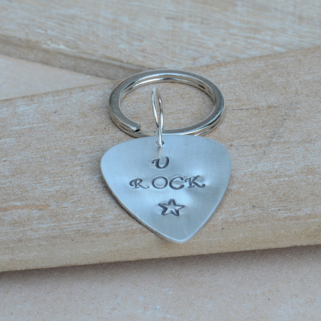 You U Rock Aluminium Hand Stamped Guitar Pick Keyring