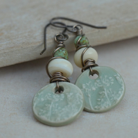 Pale Green Ceramic Charms, Lampwork Glass & Czech Bead Earrings