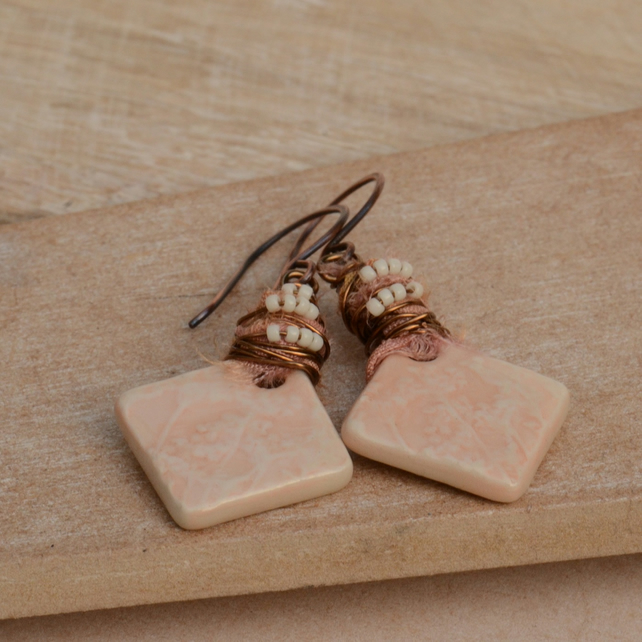 Peach Ceramic Charms, Wire Wrapped Sari Silk Ribbon & Copper Earrings