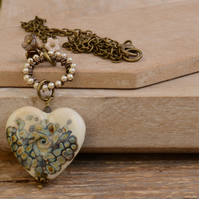 Cream Lampwork Glass Heart Pendant Necklace with Pearl and Flower Beads
