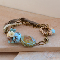 Czech Glass Bird Bead Bracelet with Lampwork Glass, Flowers and Sari Ribbon
