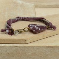 Plum Polka Dot Lampwork Heart Bracelet, Chiffon Ribbon & Grey Purple Seed Beads
