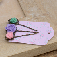 Set of 3 Flower Hair Bobby Pins