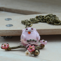 Lampwork Glass Pink Owl, Branch & Flower Pendant Necklace