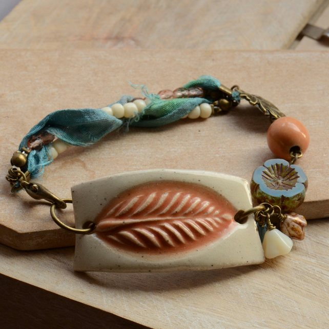Ceramic Cream Orange Leaf Bracelet with Blue and Peach Beads and Ribbon