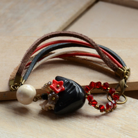 Black Ceramic Bird Bracelet with Red Swarovski Crystal, Flower Cluster