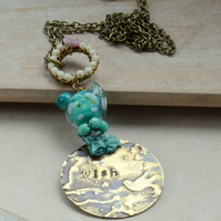 Handstamped Wish Embossed Brass Pendant with Turquoise Lampwork Bird