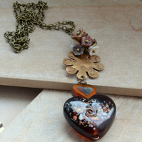 Amber Lampwork Glass Heart Necklace with Brass & Czech Glass Flower Cluster