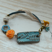 Ceramic Turquoise Leaf Bracelet with Orange Rose, Ceramic Bead & Ribbon